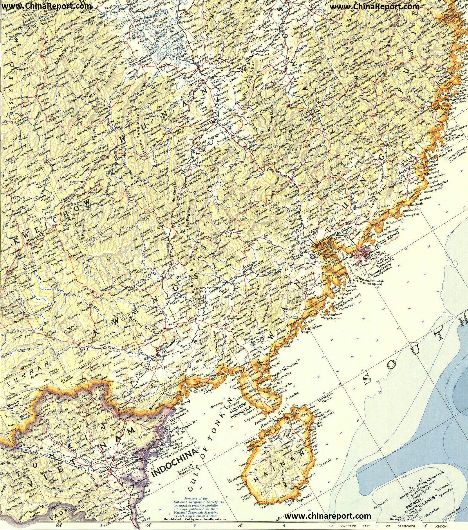 Map North Vietnam South China Hainan Island In 1953ad 01a Geographic By Chinareport Com